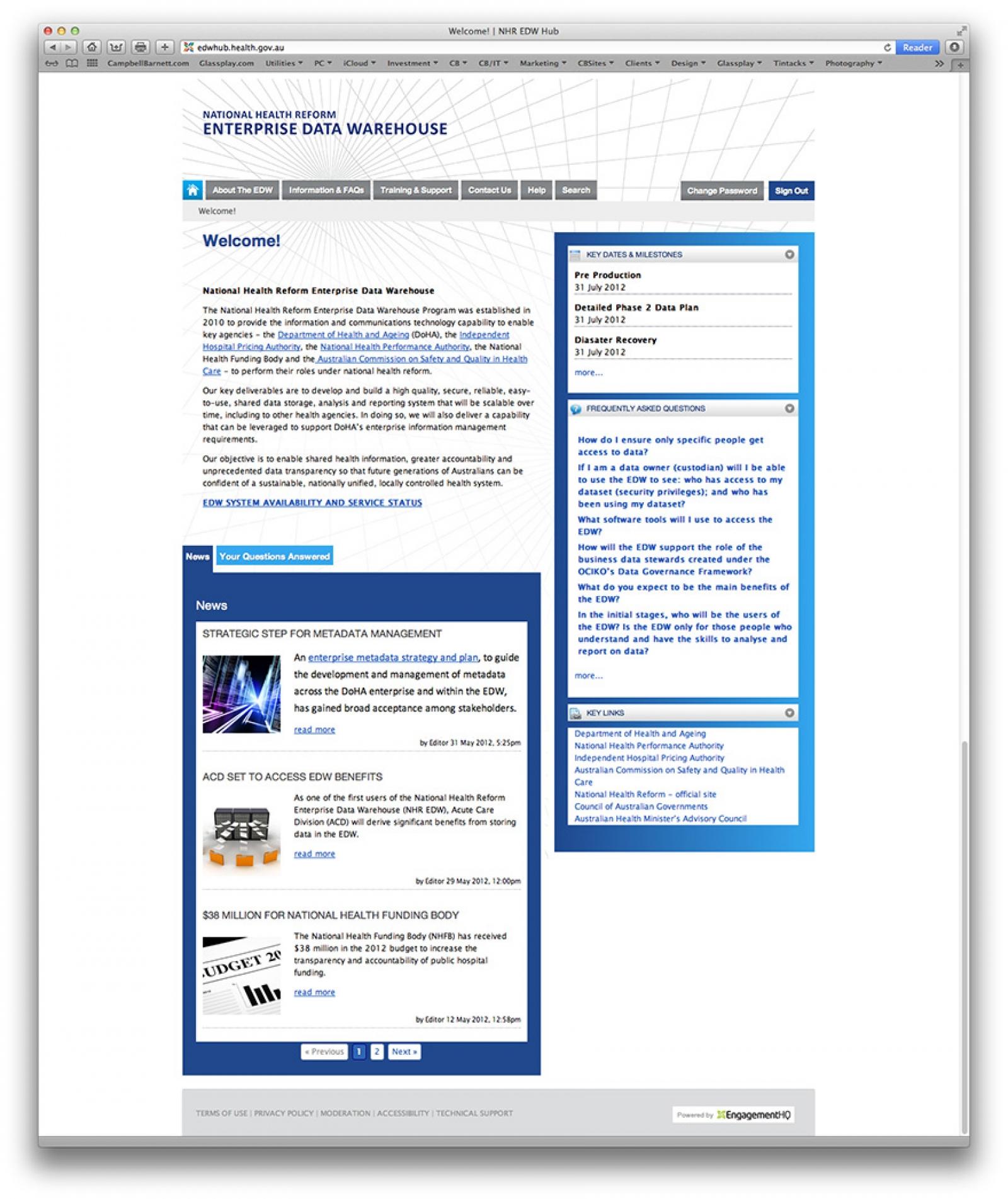 EDW Landing Page